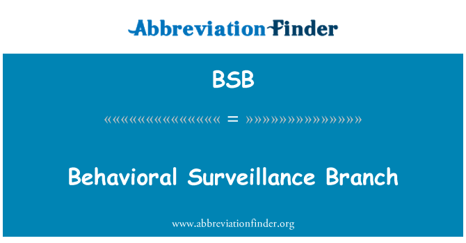 BSB: Behavioral Surveillance Branch