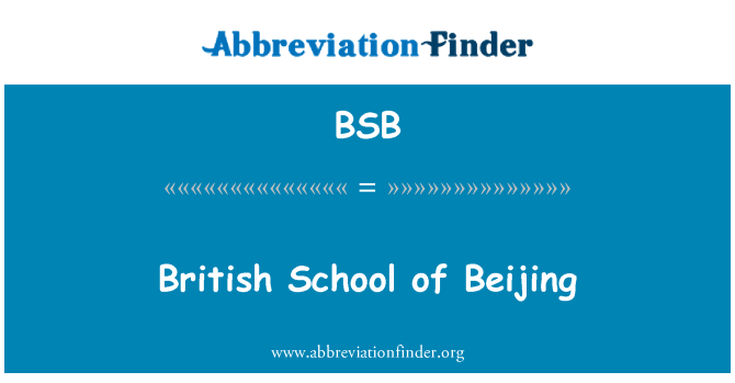 BSB: British School of Beijing