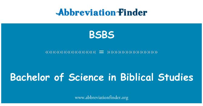 BSBS: Bachelor of Science in İncil Çalışmaları