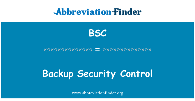 BSC: Backup Security Control