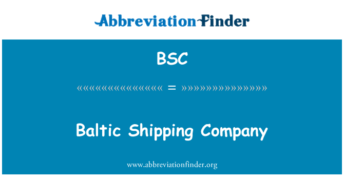 BSC: Baltic Shipping Company