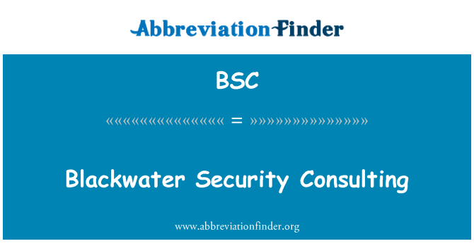 BSC: Blackwater Security Consulting
