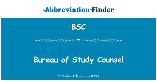 BSC: Bureau of Study Counsel