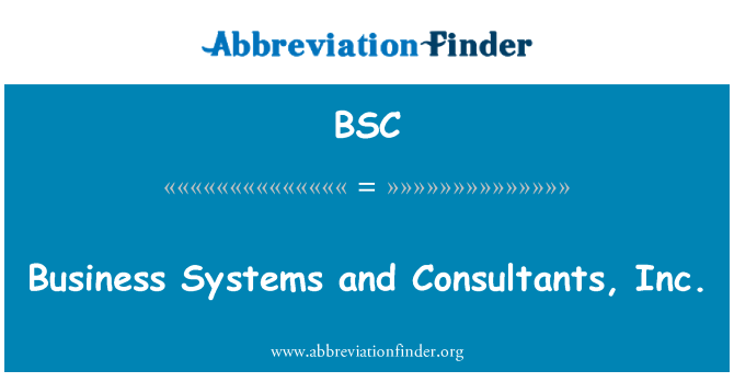 BSC: Business Systems and Consultants, Inc.