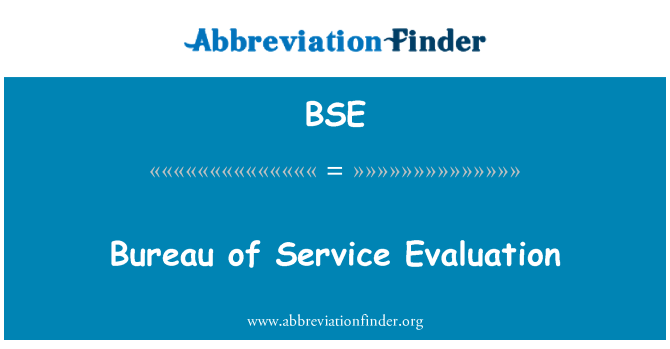 BSE: Bureau of Service Evaluation