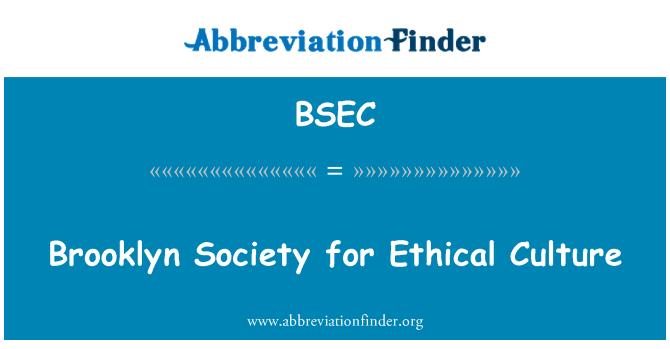BSEC: Brooklyn Derneği etik kültürü