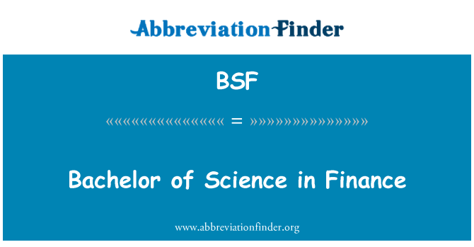 BSF: Bachelor of Science in Finance