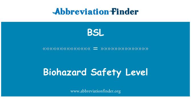 BSL: Biohazard Safety Level