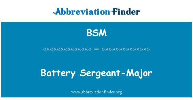 BSM: Battery Sergeant-Major