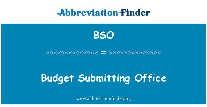 BSO: Budget Submitting Office