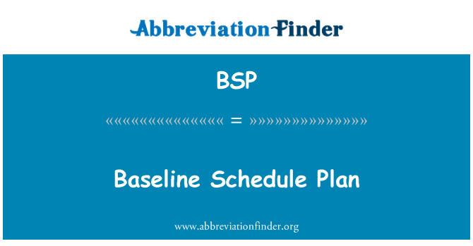 BSP: Baseline Schedule Plan