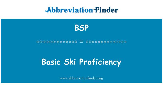 BSP: Basic Ski Proficiency