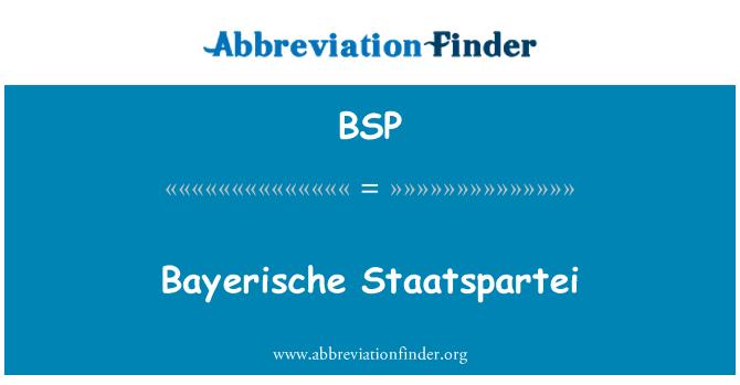 BSP: Bayerische Staatspartei