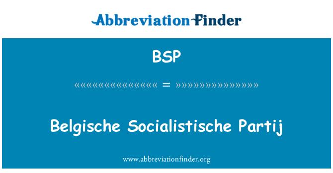 BSP: Belgische Socialistische Partij