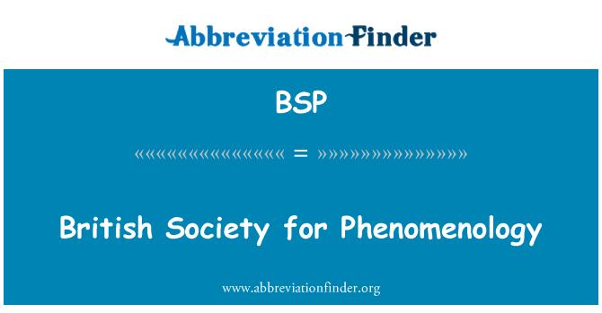 BSP: British Society for Phenomenology