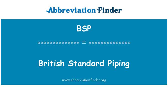 BSP: British Standard Piping