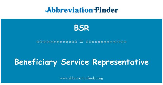 BSR: Beneficiary Service Representative