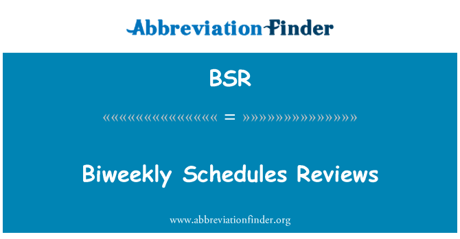 BSR: Biweekly Schedules Reviews