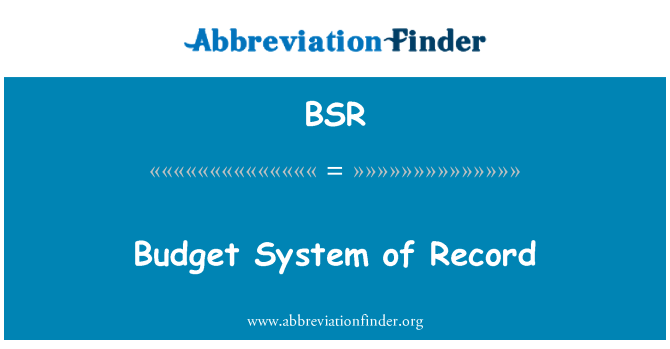 BSR: Budget System of Record