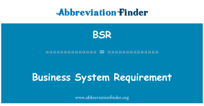 BSR: Business System Requirement