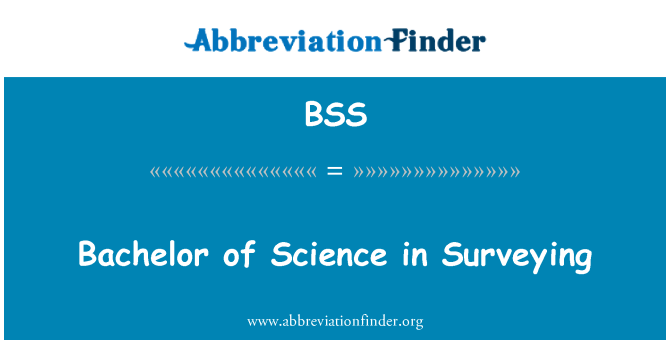 BSS: Bachelor of Science in Surveying