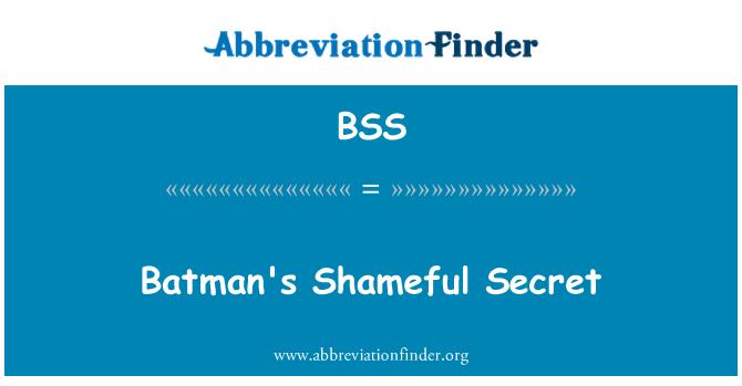 BSS: Batman's Shameful Secret