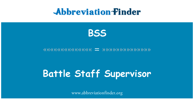 BSS: Battle Staff Supervisor