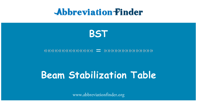 BST: Beam Stabilization Table