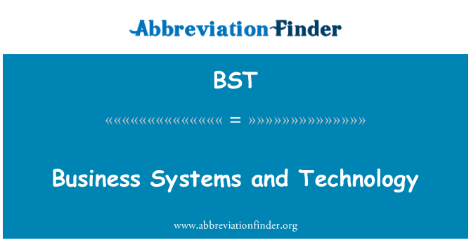 BST: Business Systems and Technology