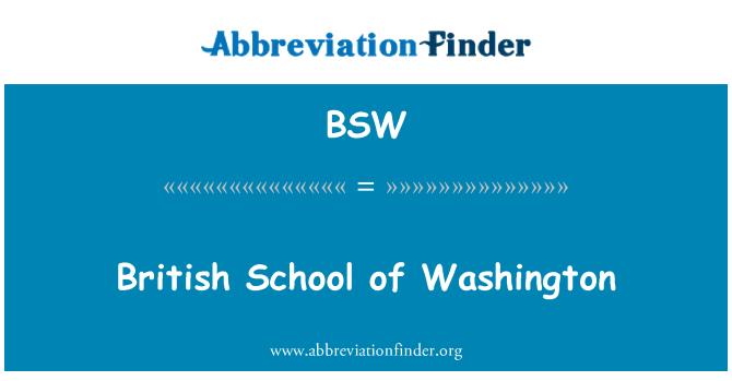 BSW: British School of Washington