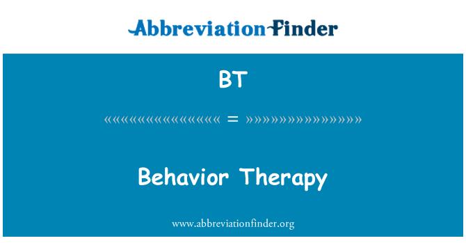 BT: Behavior Therapy