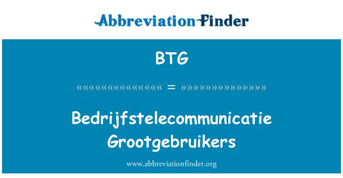 BTG: Bedrijfstelecommunicatie Grootgebruikers