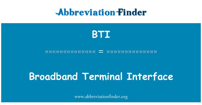 BTI: Broadband Terminal Interface