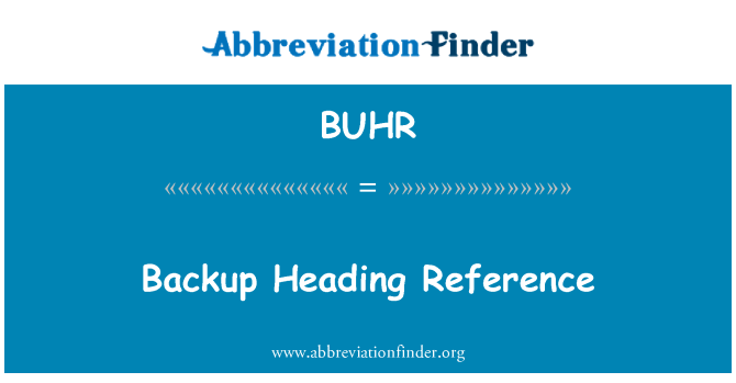 BUHR: Backup Heading Reference