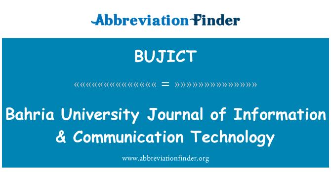BUJICT: Universidad de Bahria diario de información y tecnología de la comunicación