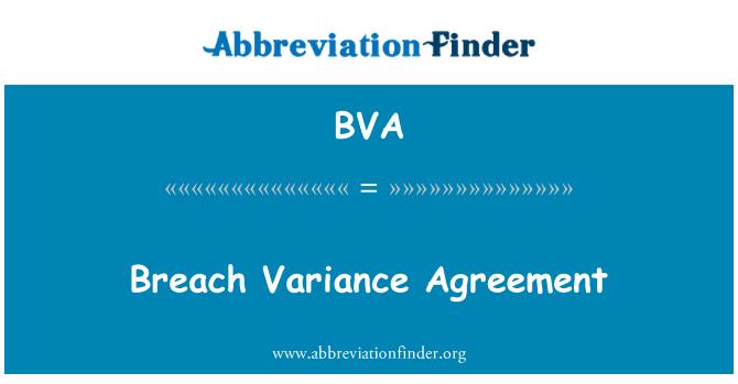 BVA: Breach Variance Agreement