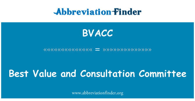 BVACC: Best Value and Consultation Committee