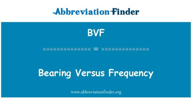 BVF: Bearing Versus Frequency