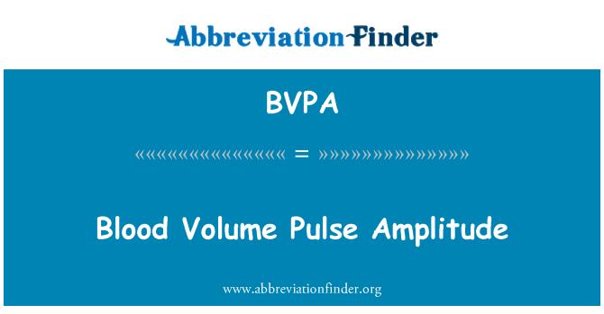 BVPA: Amplitud de pulso de volumen de sangre
