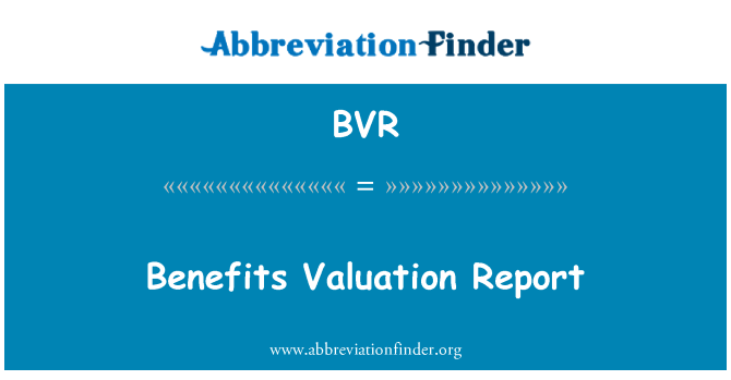 BVR: Benefits Valuation Report
