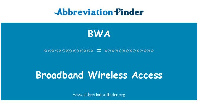 BWA: Broadband Wireless Access