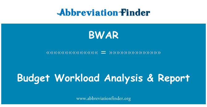 BWAR: Budget Workload Analysis & Report
