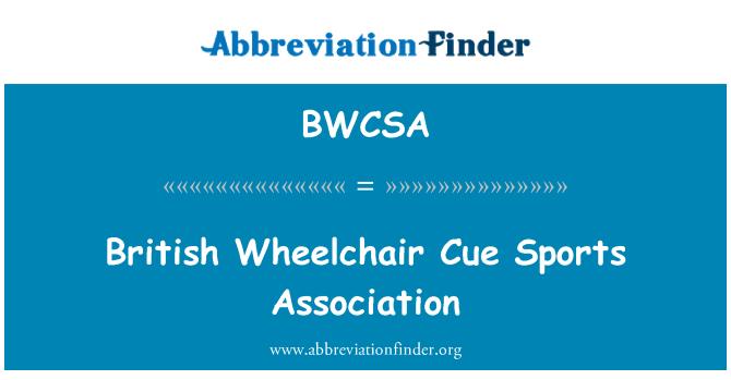 BWCSA: British Wheelchair Cue Sports Association