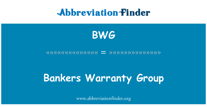 BWG: Bankers Warranty Group