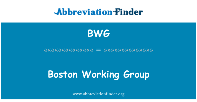 BWG: Boston Working Group