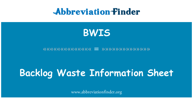 BWIS: Birikim atık bilgi formu