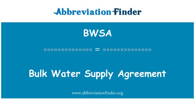 BWSA: Acuerdo de suministro de agua a granel