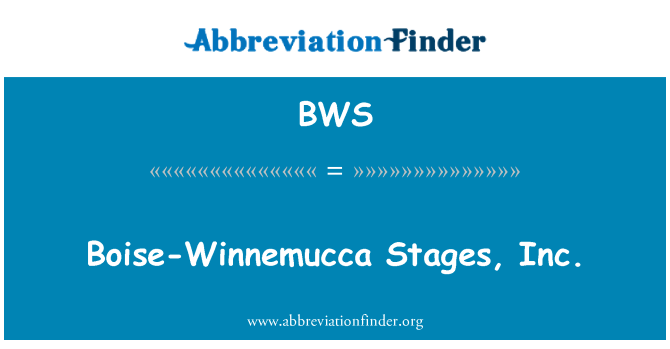 BWS: Boise-Winnemucca Stages, Inc.