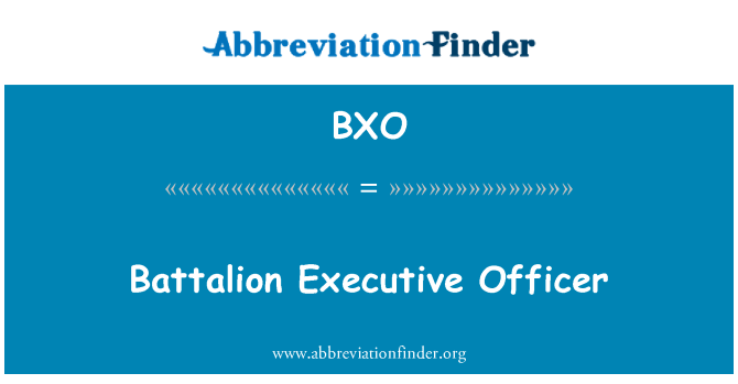 BXO: Battalion Executive Officer