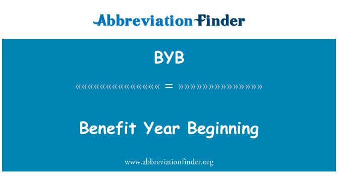 BYB: Benefit Year Beginning